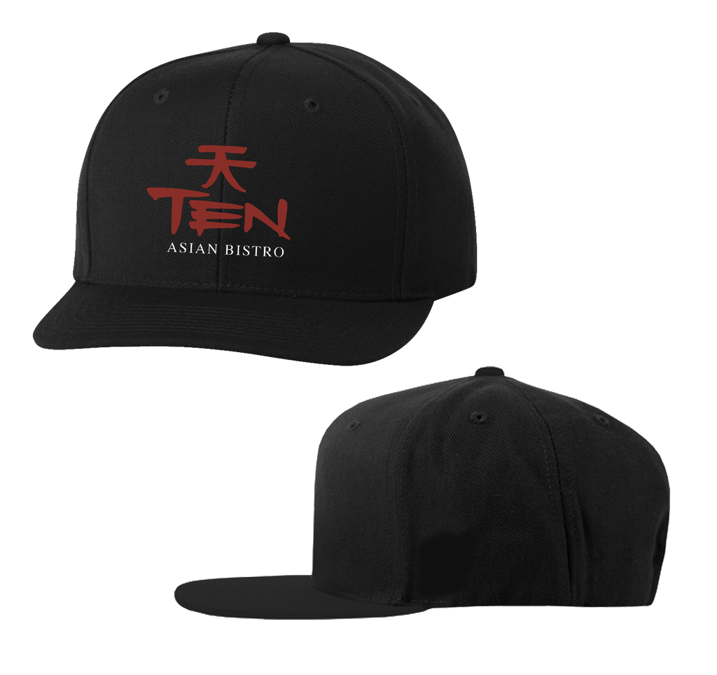 Ten Asian Bistro - Red/White Logo Embroidered Snapback (Black)
