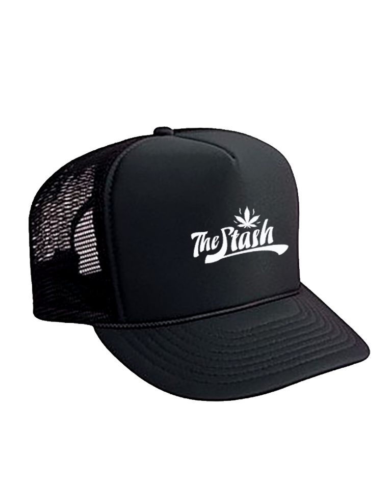 Stash - White Logo Mesh Trucker (Black)