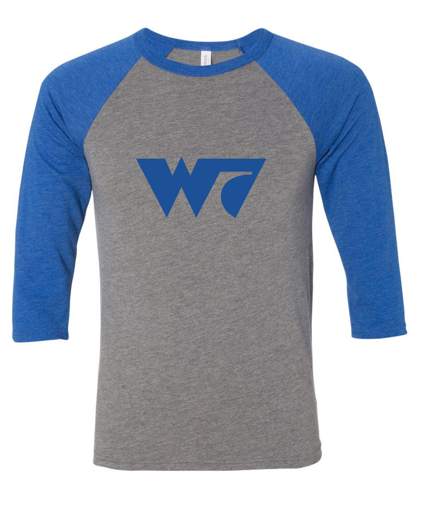 W7 Raglan (Grey/ True Royal Triblend)
