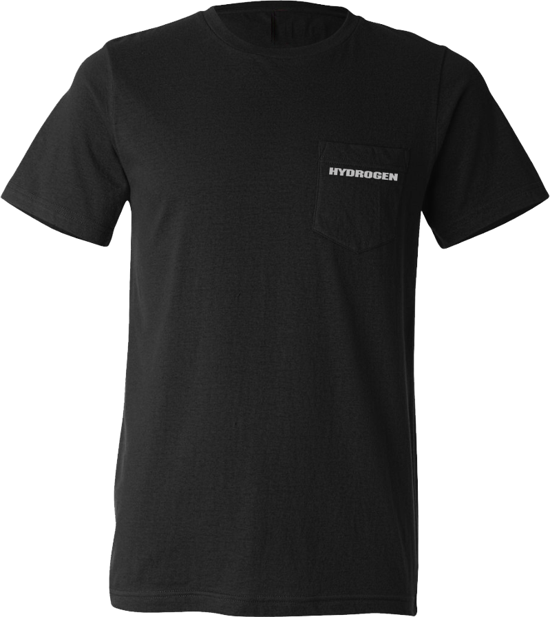 Hydrogen - Black Custom Pocket Tee with Screen Print (Bella Light Weight)
