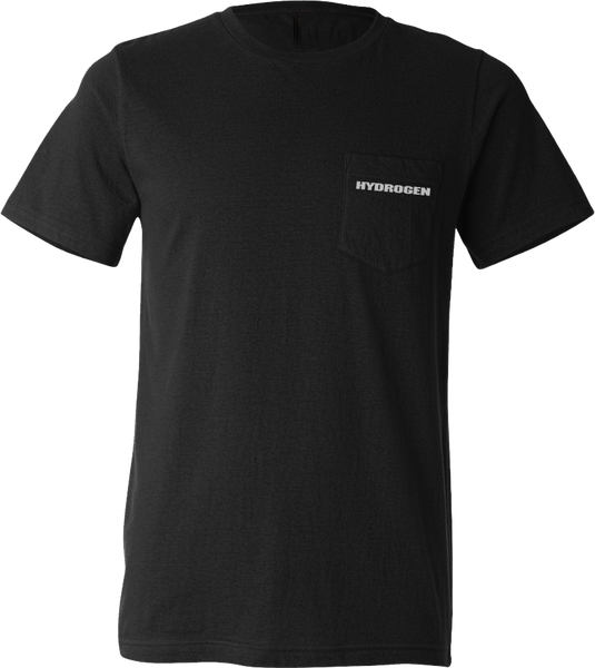Hydrogen - Black Custom Pocket Tee with Screen Print (mid weight)