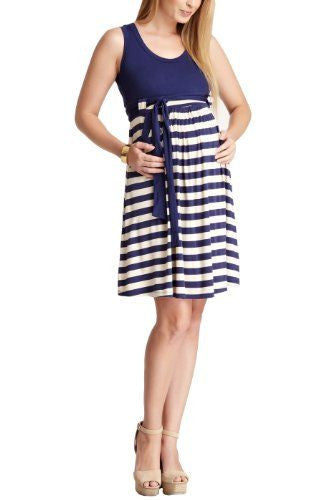 Momo Navy Striped Maternity Dress Heather