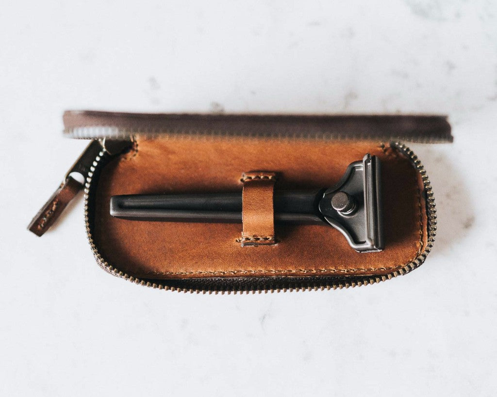 Single Edge Leather Razor Case - Bourbon