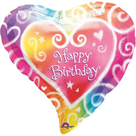 "Happy Birthday Watercolor Heart 18"" Mylar Balloon 
