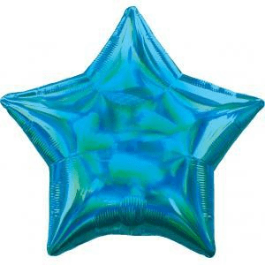 Blue Iridescent Star Balloon, 18'' | 1 ct
