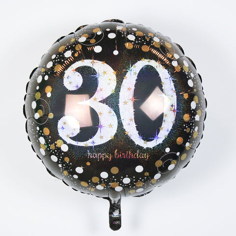 "Sparkling ""30"" Happy Birthday Mylar Balloon 