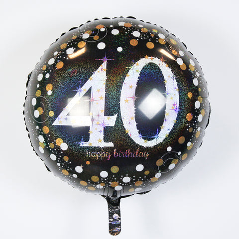 "Sparkling ""40"" Happy Birthday Mylar Balloon 