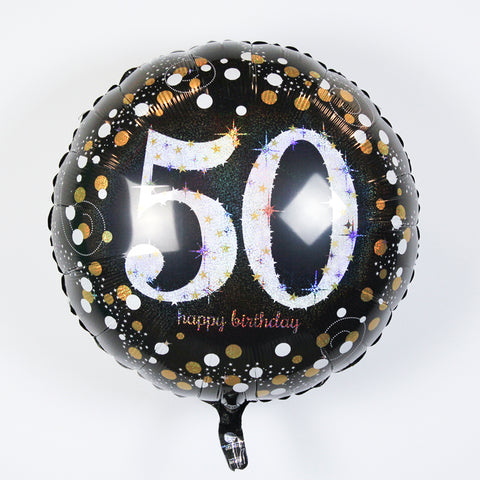 "Sparkling ""50"" Happy Birthday Mylar Balloon 