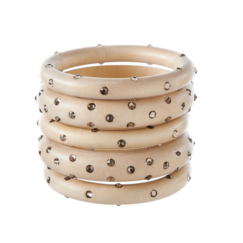 Bangles - White Wood with Greige Stones - Rebecca de Ravenel LLC, A Delaware Limited Liability Company