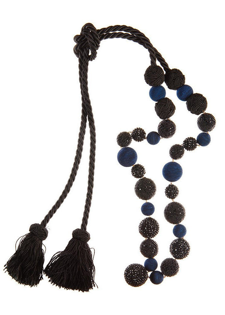 "The Jackie Tassel<br><span class=""smallFont2"">Navy & Black</span>"