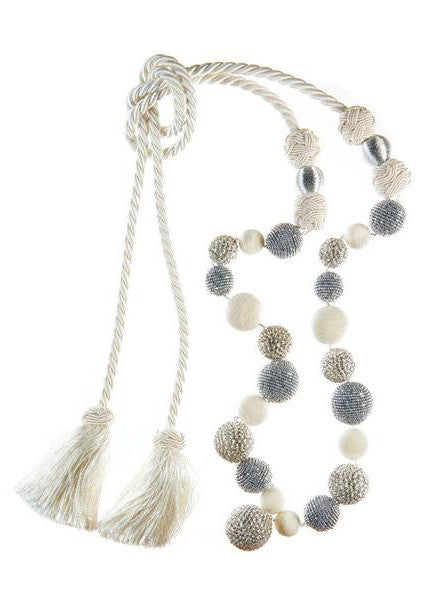 "The Jackie Tassel<br><span class=""smallFont2"">White & Silver</span>"