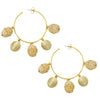 RATTAN CHARM HOOP- Natural/Gold