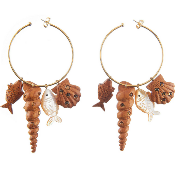 Tallulah Charm Hoop - Natural Wood with Topaz Stones