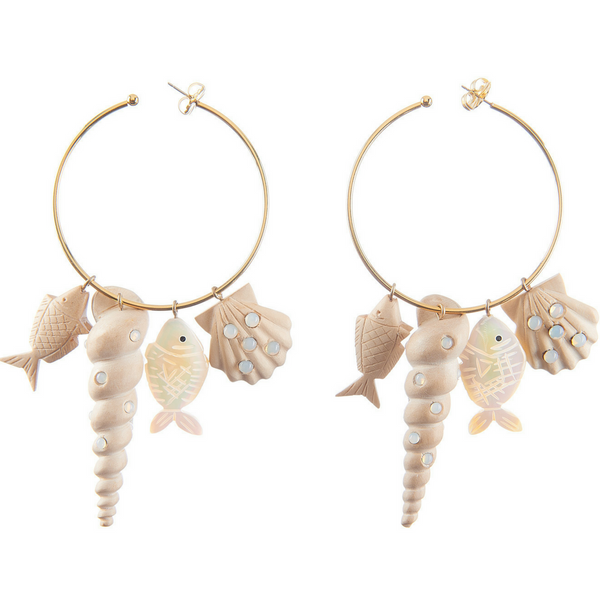 Tallulah Charm Hoop - White Wood with Opal Stones