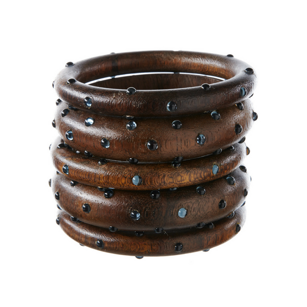 Bangles - Dark Wood with Montana Stones - Rebecca de Ravenel LLC, A Delaware Limited Liability Company