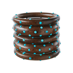 Bangles - Dark Wood with Turquoise Stones - Rebecca de Ravenel LLC, A Delaware Limited Liability Company
