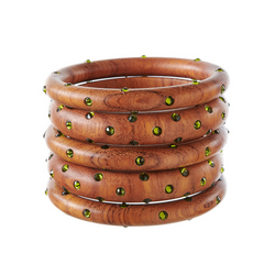Bangles - Natural Wood with Olivine Stones - Rebecca de Ravenel LLC, A Delaware Limited Liability Company