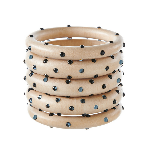 Bangles - White Wood With Montana Stones - Rebecca de Ravenel LLC, A Delaware Limited Liability Company