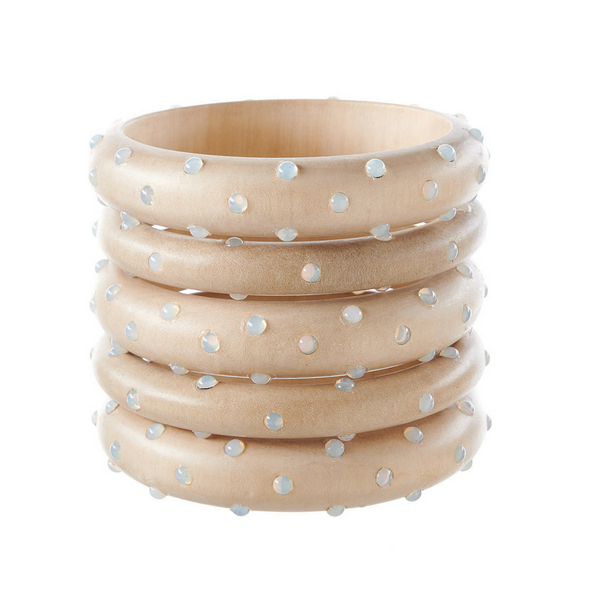 Bangles - White Wood with Opal Stones