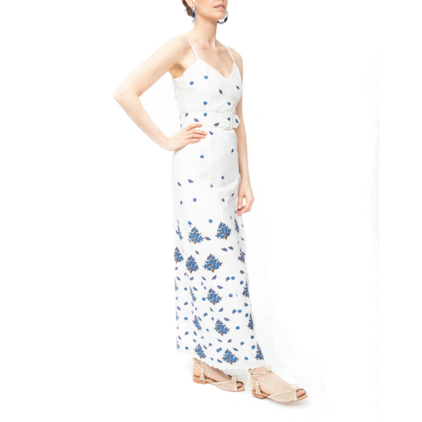 Picnic Eyelet Dress - White/Blue - Rebecca de Ravenel LLC, A Delaware Limited Liability Company