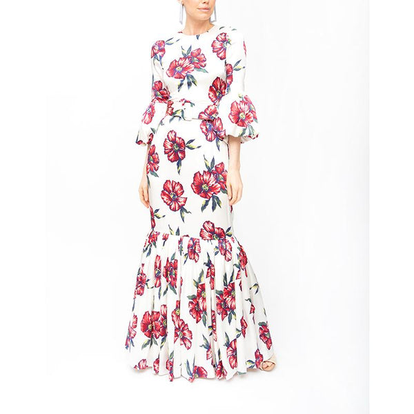 Bell Sleeve Patio Dress - Red Hibiscus - Rebecca de Ravenel LLC, A Delaware Limited Liability Company