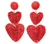 RATTAN 3 DROPS HEARTS Red