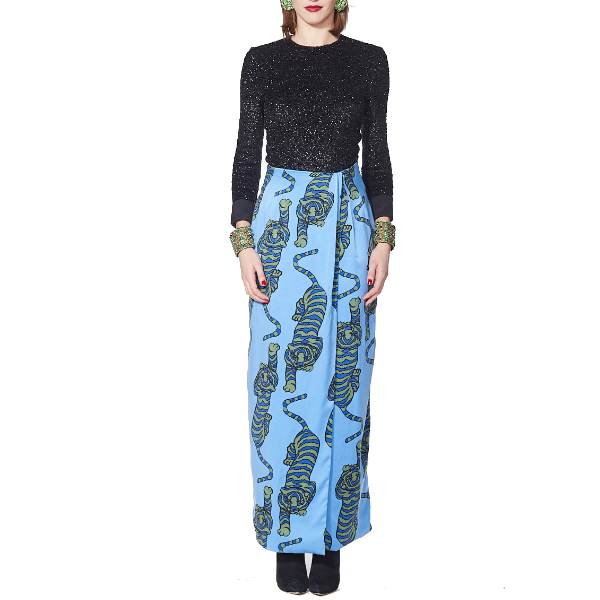 Tiger Wrap Skirt - Blue - Rebecca de Ravenel LLC, A Delaware Limited Liability Company