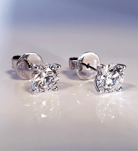 Quality Diamond Stud Earrings 1 Carat Each 18K GIA