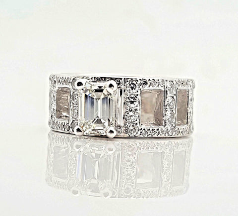 .88 Carat Emerald Cut Diamond Engagement Ring