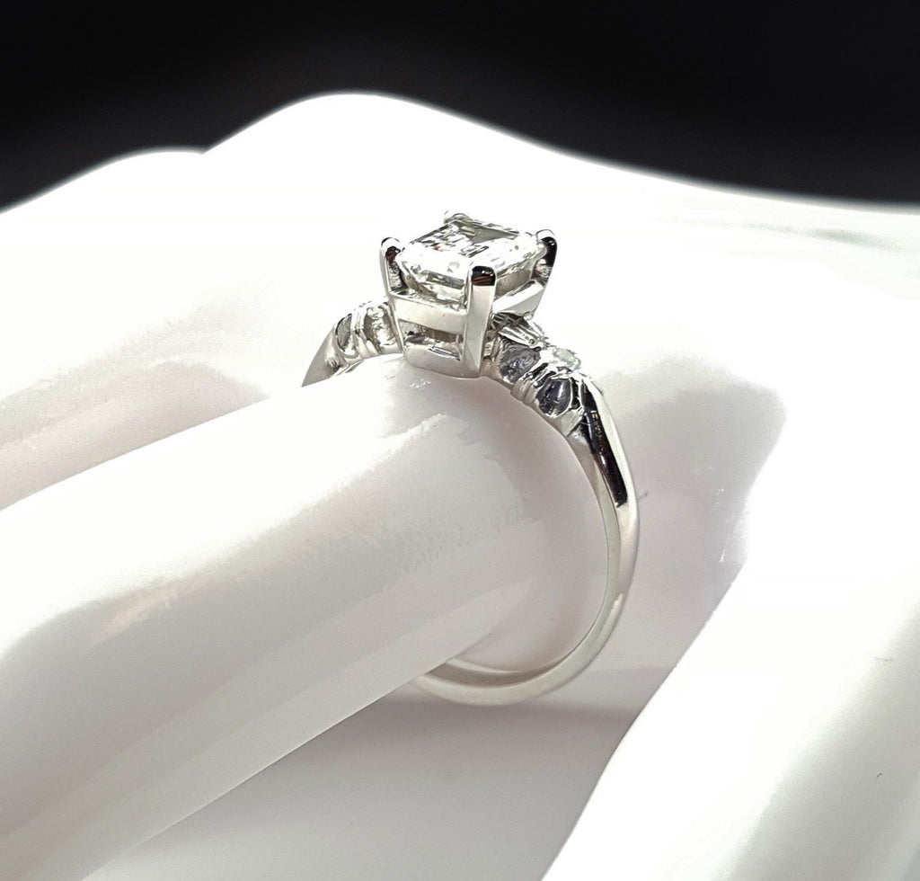 1 Carat Platinum Emerald Cut Diamond Engagement Ring E