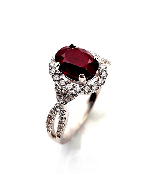 Ladies 2 Carat Natural Ruby & Diamond Engagement Ring