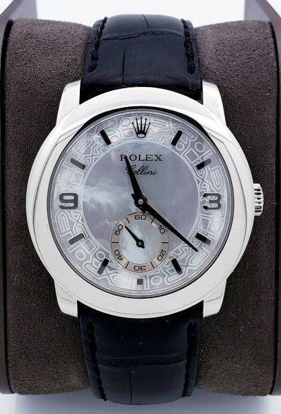 ROLEX Cellini Cellinium Men's Platinum Watch 5240 MOP Dial Black Leather Band
