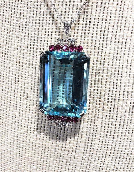 Vintage 41 Carat Emerald Cut Natural Aquamarine Pendant