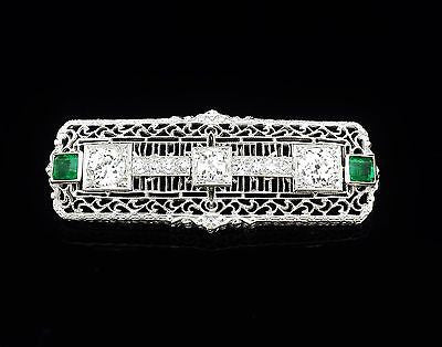 Vintage Brooch Diamond Emerald Platinum & 14K White Gold