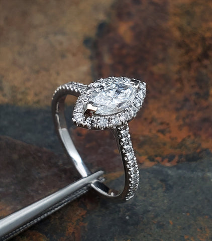 .73 Ct Marquise Diamond Engagement Ring White Gold