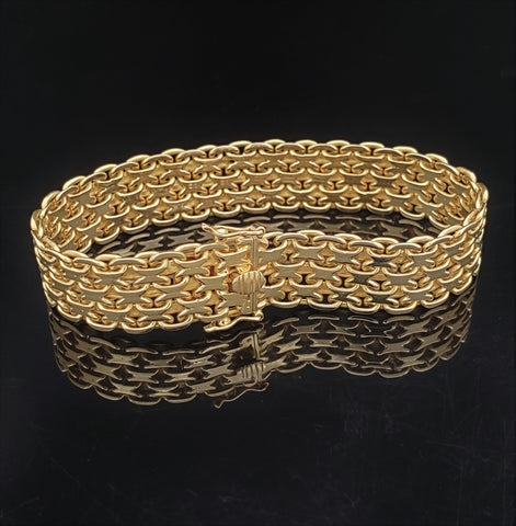 18K Yellow Gold Flat Link Bracelet