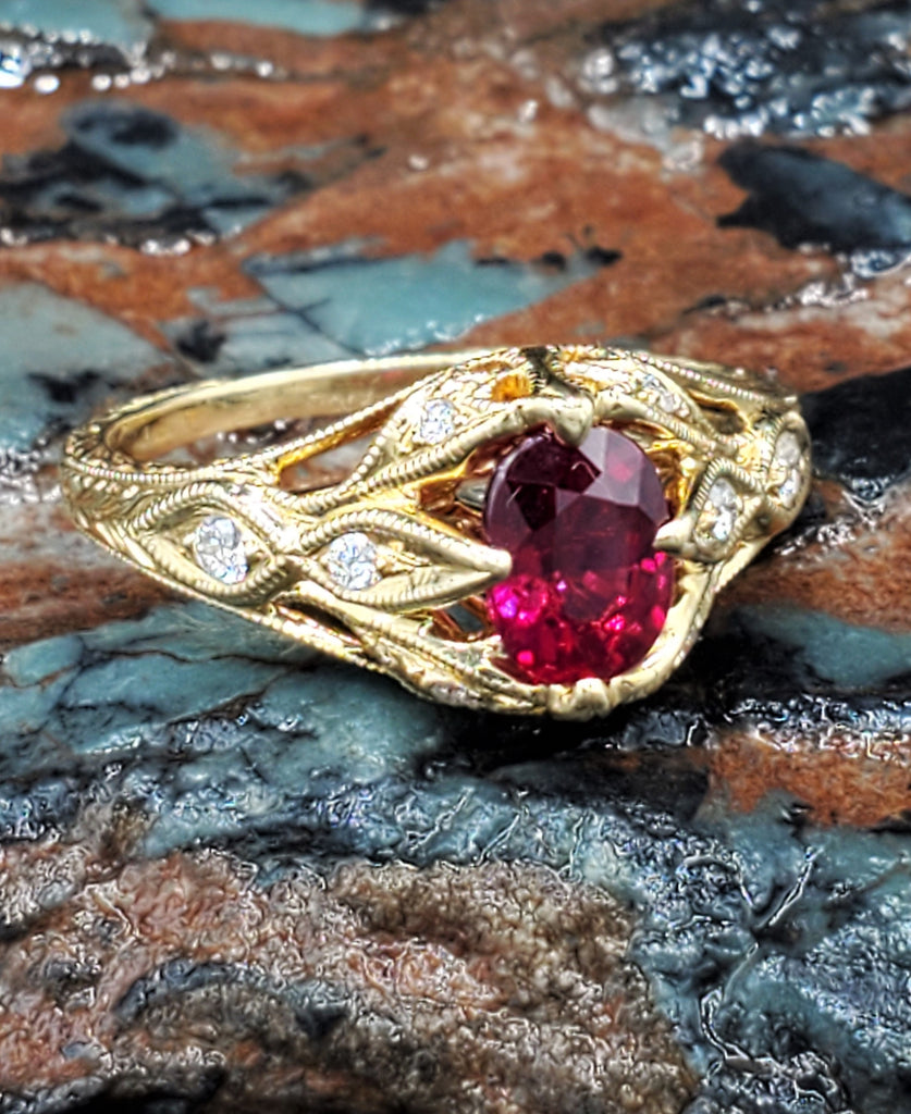 No Heat Natural 1 Carat Oval Ruby Engagement Ring 18K Yellow Gold