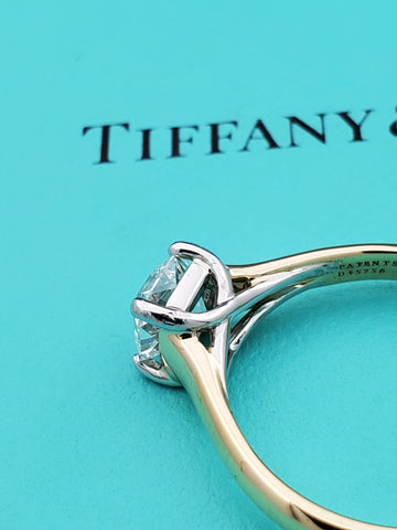 Tiffany & Co 18K Gold 1.05ct G VVS2 Lucida Diamond Engagement Ring