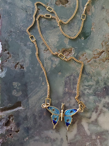14K Yellow Gold Enamel Butterfly Necklace