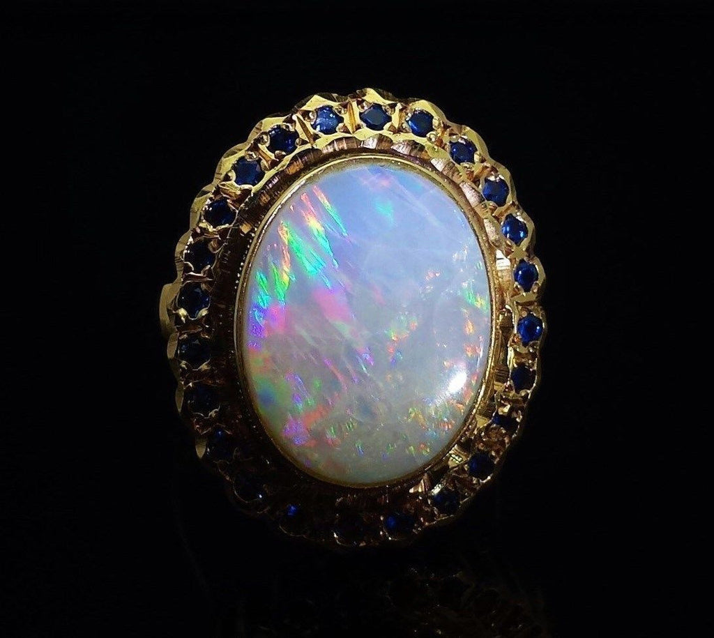 Large Vintage Oval Cabochon Opal Ring Solid 14K Yellow Gold