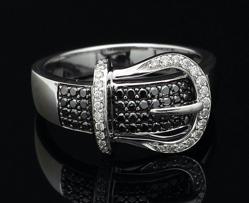 Black & White Diamond Buckle Ring Solid 14K White Gold
