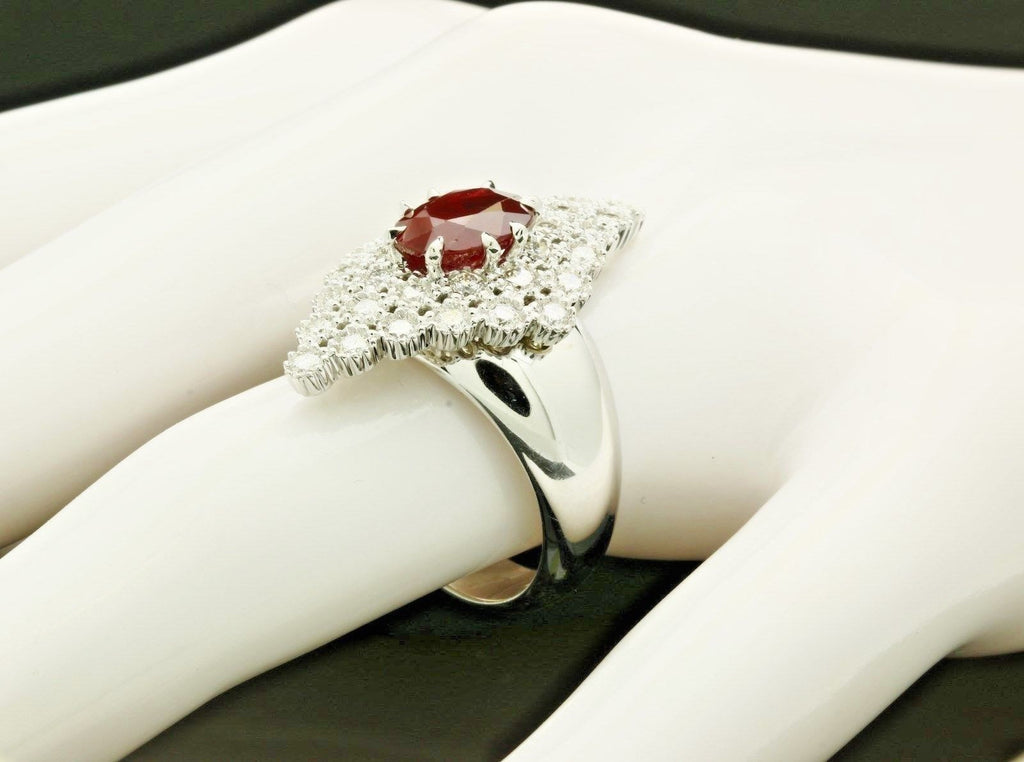 designer gioielli 18k white gold ruby ring w diamonds
