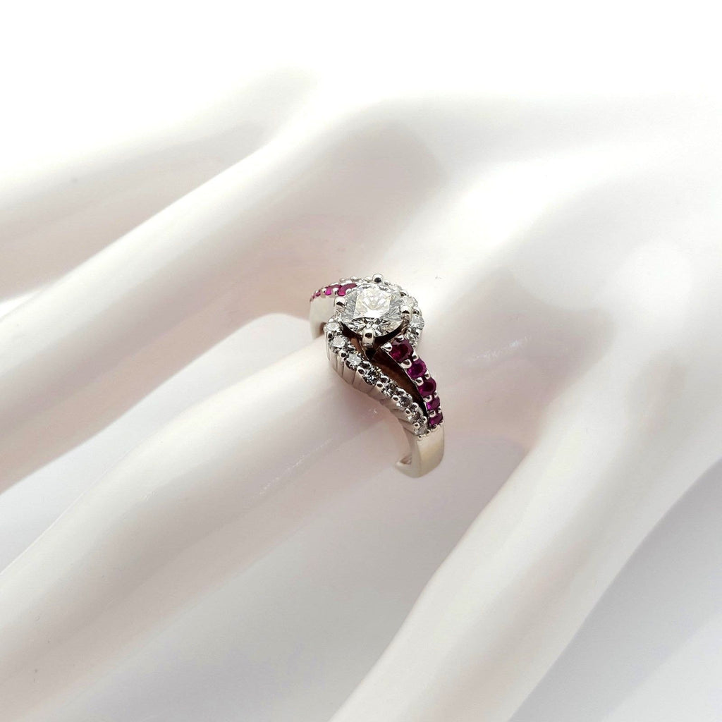Ladies 14K White Gold Diamond & Ruby Ring .70ct F/SI1