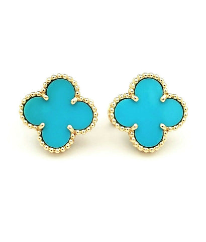 Van Cleef & Arpels 18k Yellow Gold Vintage Alhambra Turquoise Earrings