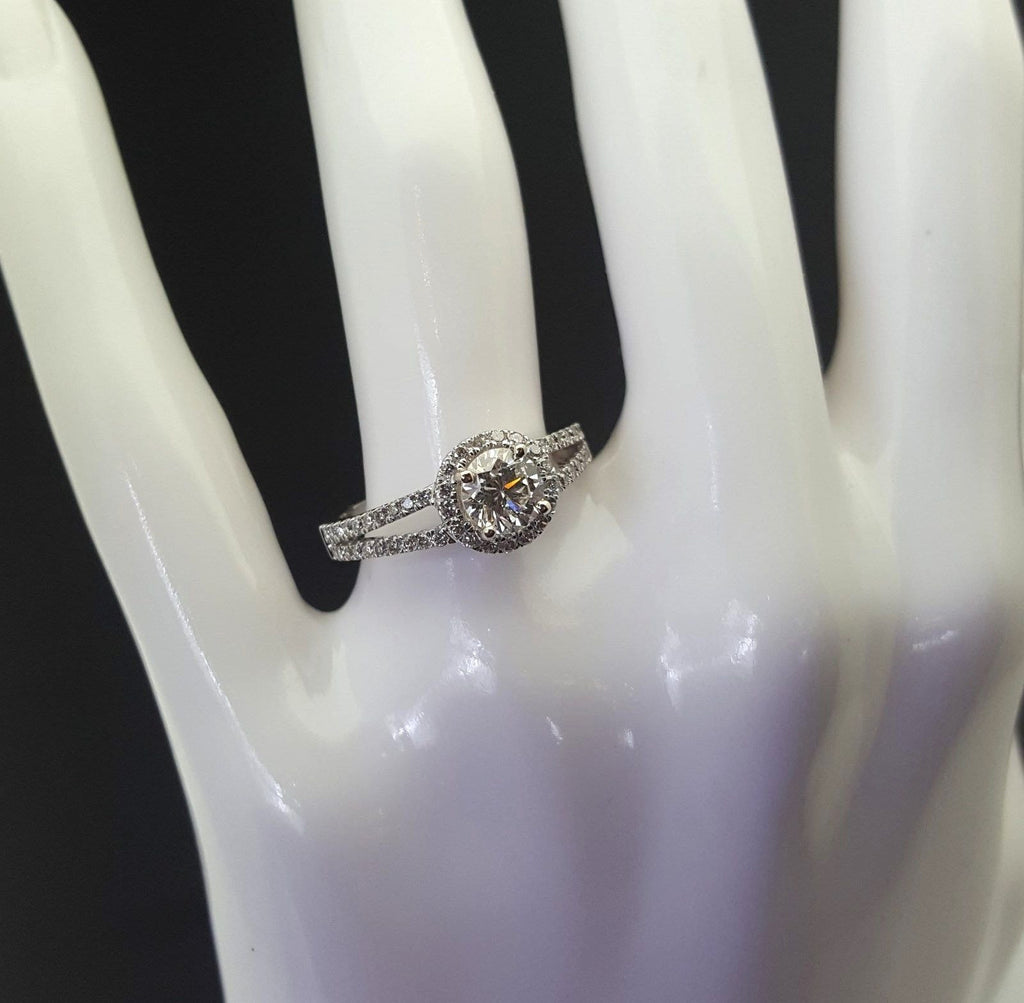 .76 Carat Round Halo Diamond Engagement Ring