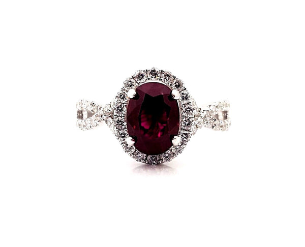 Ladies 2 Carat Natural Ruby Amp Diamond Engagement Ring