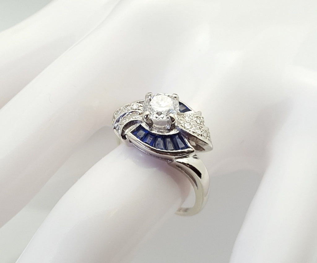.73 Carat Diamond and Sapphire Engagement Ring