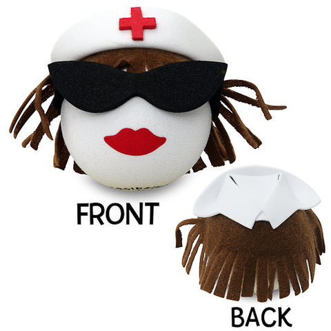 Coolballs Brunette Nurse Car Antenna Topper / Desktop Spring Stand Bobble