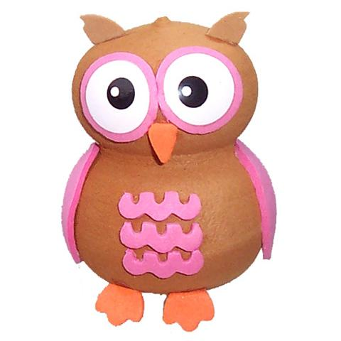 Tenna Tops Cute Pink Owl Car Antenna Topper / Desktop Spring Stand Bobble