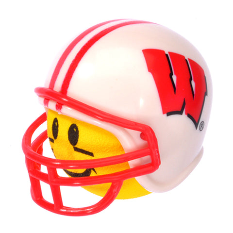 HappyBalls Wisconsin Badgers Helmet Head Team Car Antenna Topper / Desktop Spring Stand Bobble Buddy (College Football)(Yellow Face)